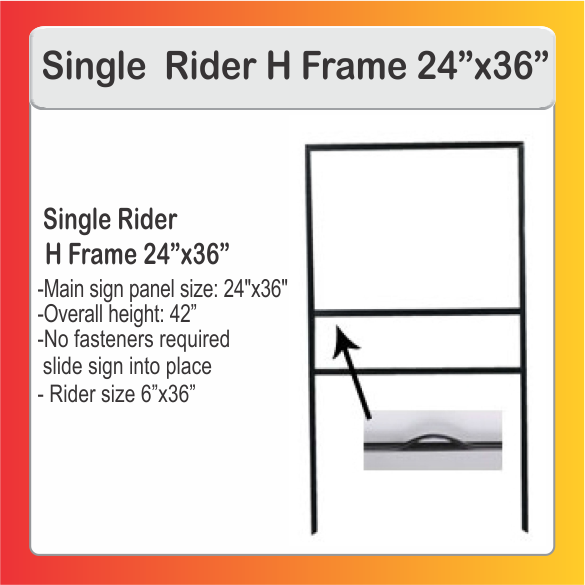 Delivery Signs Llc Single Rider H Frame 36 X 24