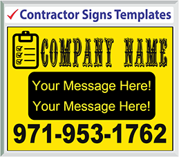 "Browse Contractor Signs Templates 24"" x 18"""